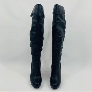 Jessica Simpson Black Leather Heeled Boots